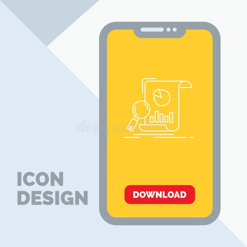 Analyse, analytics, zaken, financieel, het Pictogram van de onderzoeklijn in Mobiel voor Downloadpagina royalty-vrije illustratie