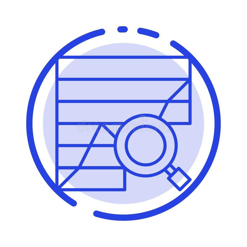 Analyse, analytisch, Analytics, Diagramm, Daten, Linie Ikone der Diagramm-blauen punktierten Linie lizenzfreie abbildung