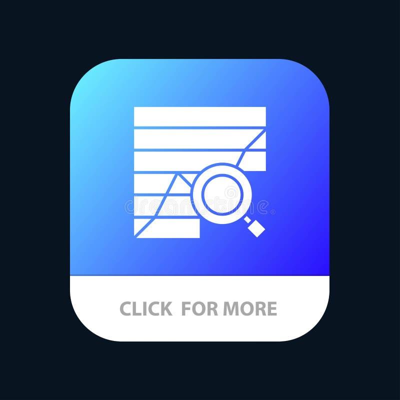 Analyse, analytisch, Analytics, Diagramm, Daten, Diagramm mobiler App-Knopf Android und IOS-Glyph-Version lizenzfreie abbildung