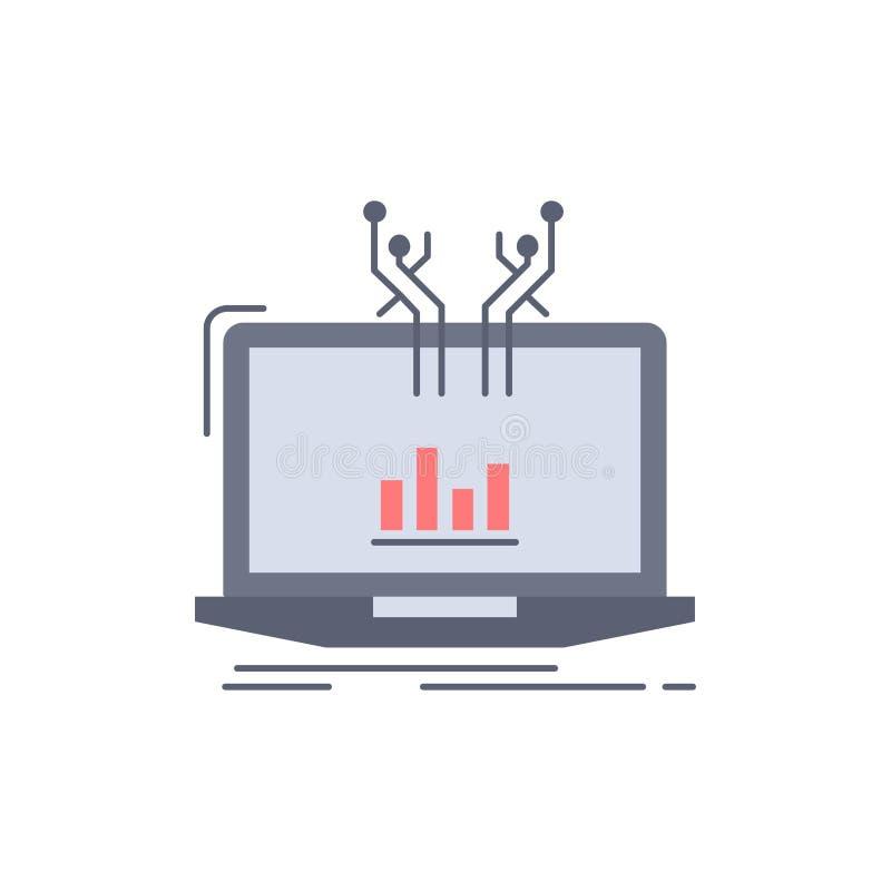Analyse, analytisch, Management, on-line, Plattform flacher Farbikonen-Vektor stock abbildung