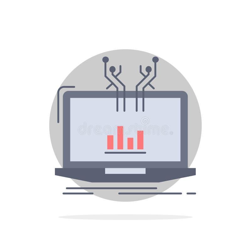 Analyse, analytisch, Management, on-line, Plattform flacher Farbikonen-Vektor lizenzfreie abbildung