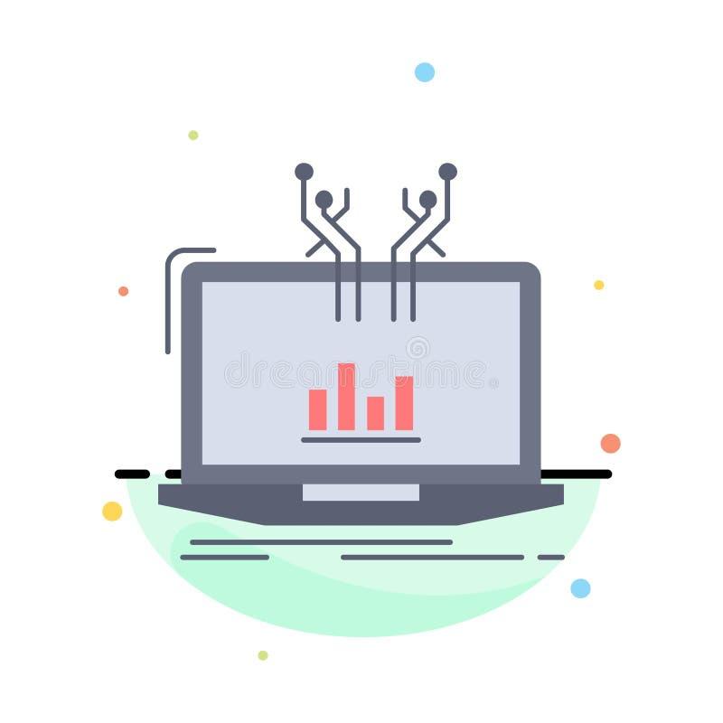 Analyse, analytisch, Management, on-line, Plattform flacher Farbikonen-Vektor vektor abbildung