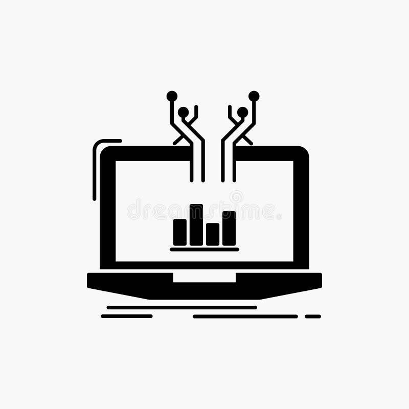 Analyse, analytisch, Management, on-line, Plattform Glyph-Ikone Vektor lokalisierte Illustration lizenzfreie abbildung