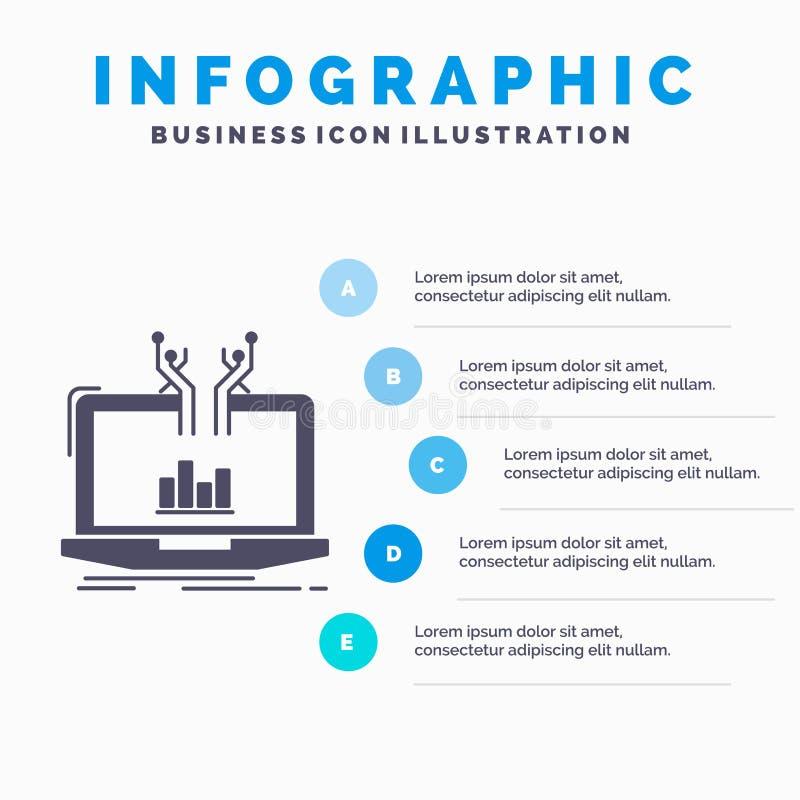 Analyse, analytisch, Management online Plattform Infographics-Schablone f?r Website und Darstellung Graue Ikone des GLyph mit Bla lizenzfreie abbildung