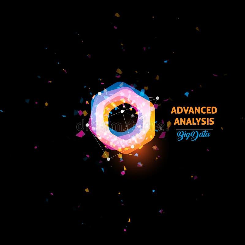 Analyse avancée, grand logo de données, icône de vecteur d'abrégé sur ampoule Forme orange et bleue d'isolement de polygones de c illustration stock