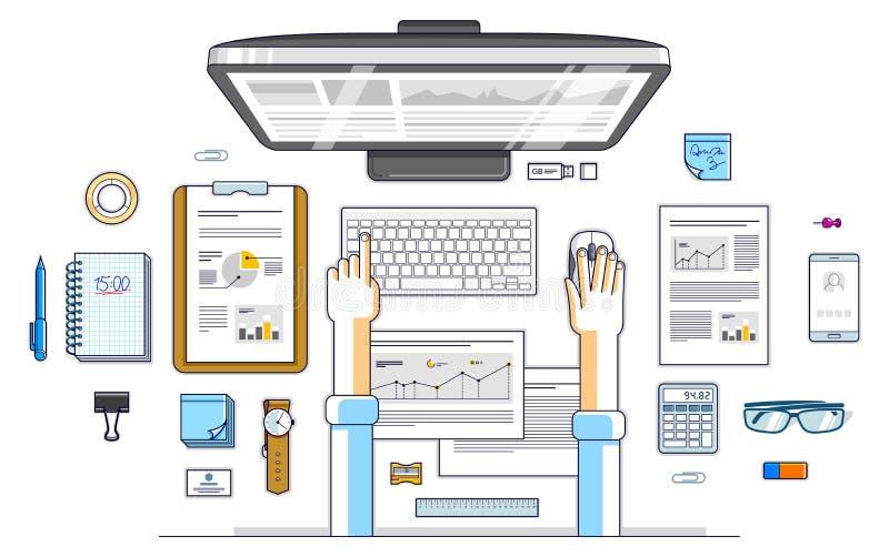 Analyse commerciale, employé de bureau ou homme d'affaires d'entrepreneur travaillant à un ordinateur et aux papiers de PC avec d illustration de vecteur