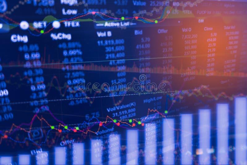 Analyse d'indicateur de données numériques sur le diagramme du commerce de marché financier sur la LED Le commerce courant de don images libres de droits