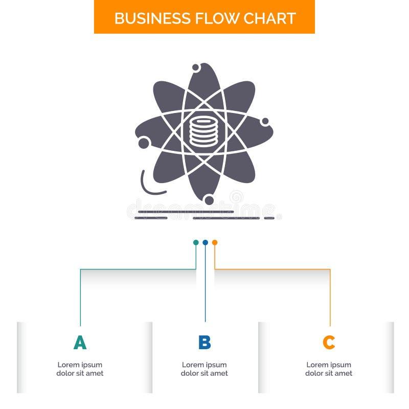 Analyse, Daten, Informationen, Forschung, Wissenschaft Gesch?fts-Flussdiagramm-Entwurf mit 3 Schritten Glyph-Ikone f?r Darstellun stock abbildung