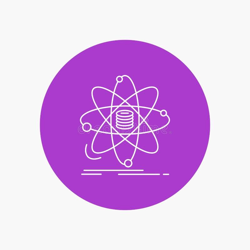 Analyse, Daten, Informationen, Forschung, Wissenschaft weiße Linie Ikone im Kreishintergrund Vektorikonenillustration lizenzfreie abbildung