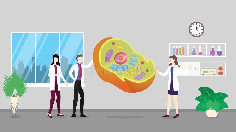 Analyse de contrôle de soins de santé de structure d'anatomie de cellule humaine identifiant par des personnes de docteur sur l illustration libre de droits