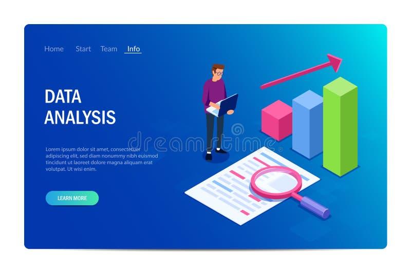 Analyse de données avec des caractères Site Web de conception ou de calibre Peut employer pour la banni?re de Web, infographics,  illustration stock
