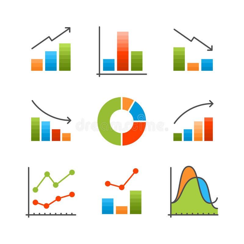 Analyse de données colorée, diagramme, illustration plate d'infographics de vecteur de diagramme pour le Web et présentation illustration stock