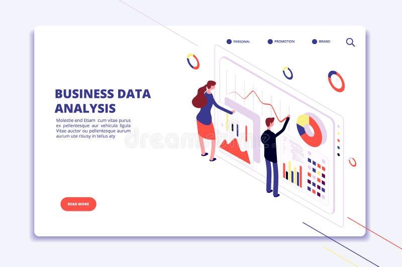 Analyse de données Les gens travaillent sur des diagrammes de finances d'affaires Surveillance statistique Concept isométrique de illustration de vecteur