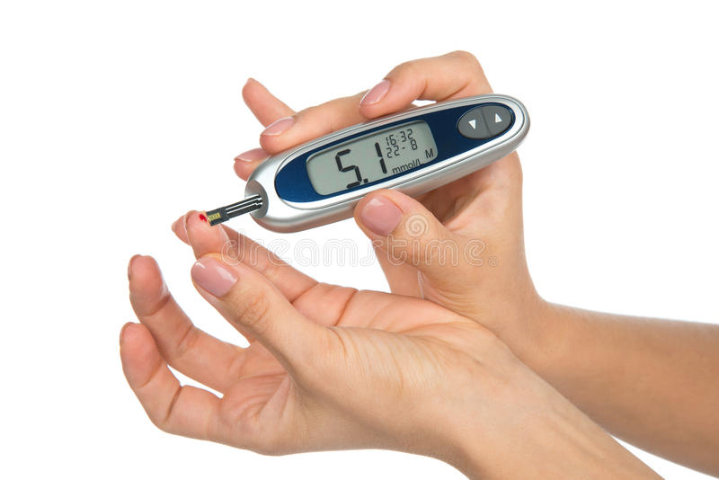 Analyse de sang de niveau de mesure patiente de glucose de diabète i image libre de droits