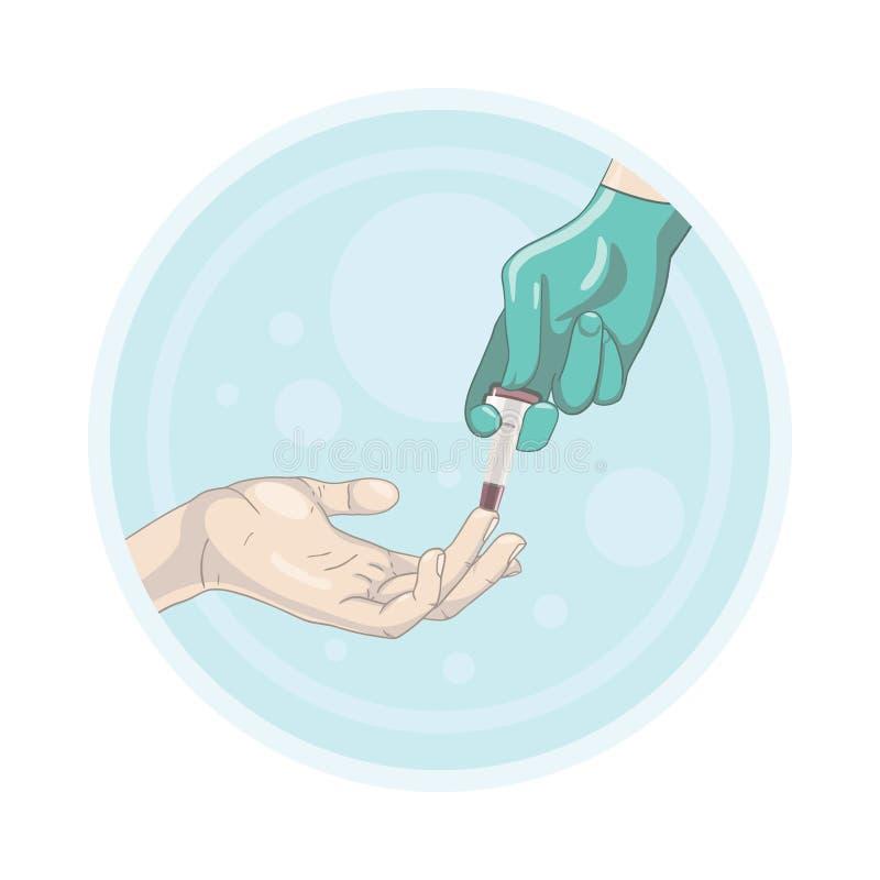 Analyse de sang de doigt avec le bistouri illustration de vecteur