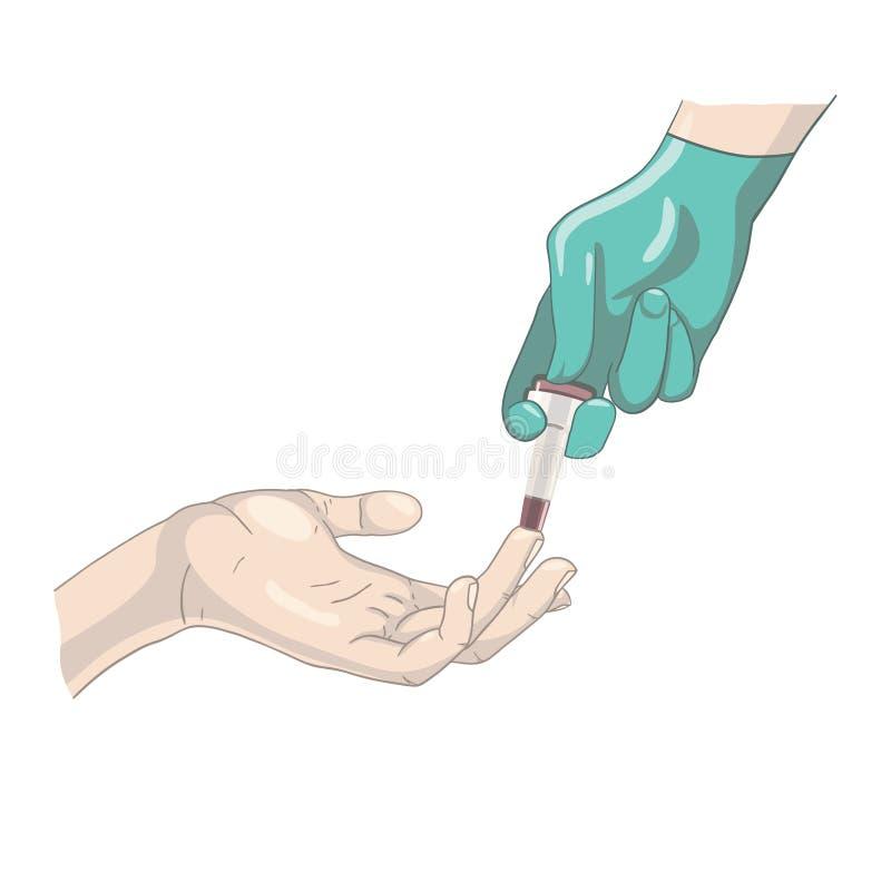 Analyse de sang de doigt avec le bistouri illustration libre de droits