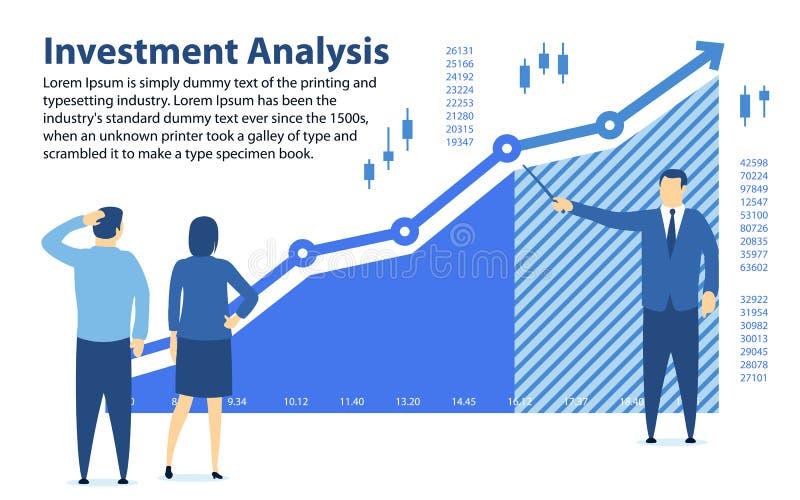 Analyse der Investition Fahne in einer flachen Art Unterrichtende Finanzbildung Der Spezialist zeigt das Gewinndiagramm Investiti lizenzfreie abbildung