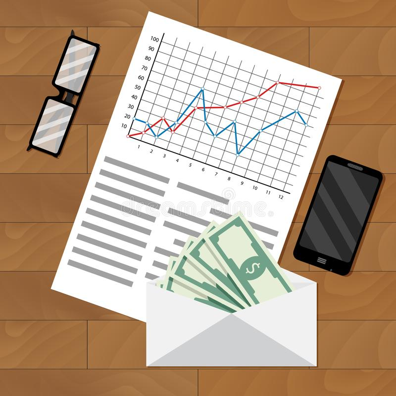 Analyse des Gehaltsabrechnungsgehalts lizenzfreie abbildung