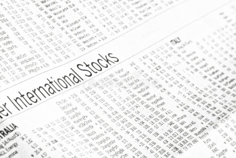 Analyse des marchés des actions internationales photographie stock