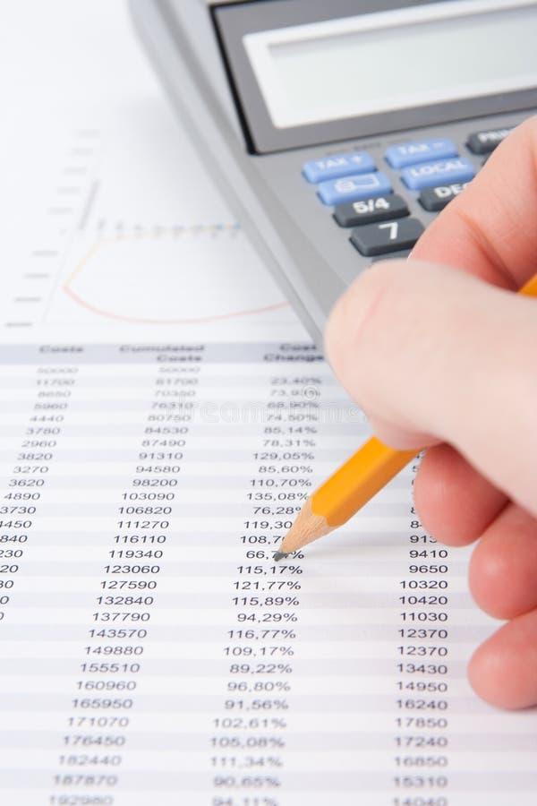 Analyse des prix de revient image stock