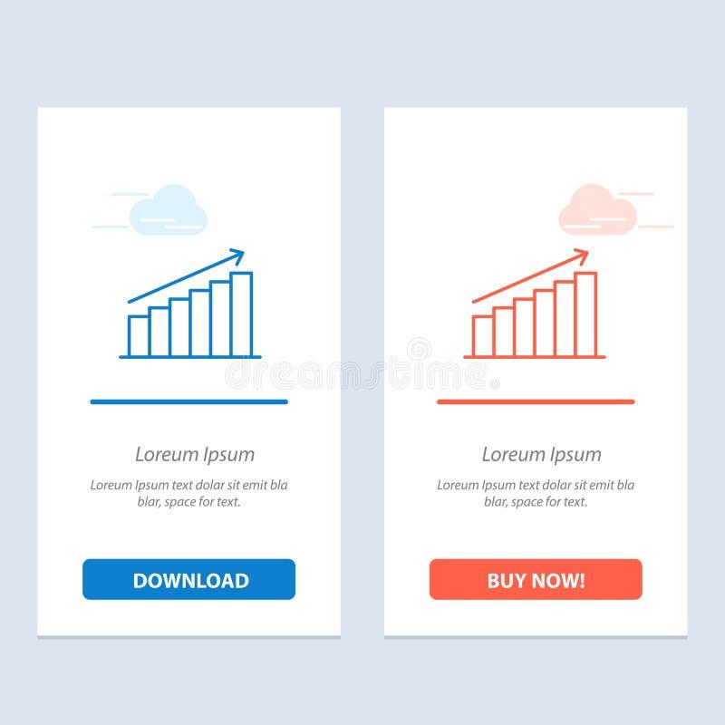 Analyse, Diagramm, Analytics, Geschäft, Diagramm, Markt, Statistiken blau und rotes Download und Netz Widget-Karten-Schablone jet stock abbildung