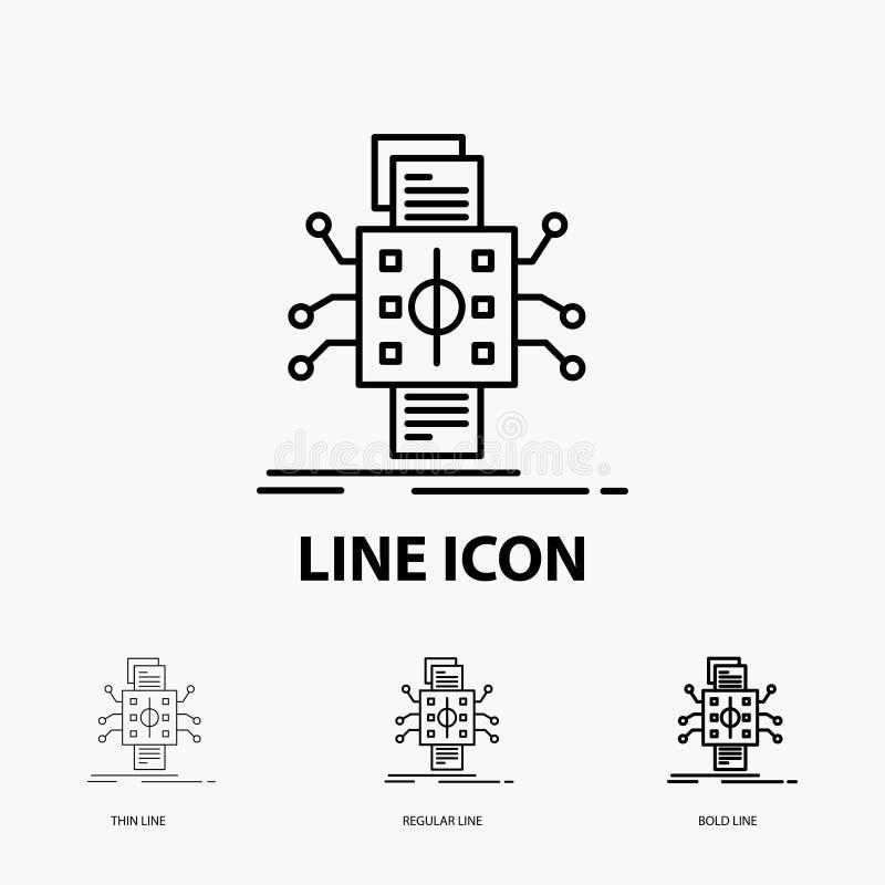 Analyse, données, donnée, traitement, rapportant l'icône dans la ligne style mince, régulière et audacieuse Illustration de vecte illustration de vecteur