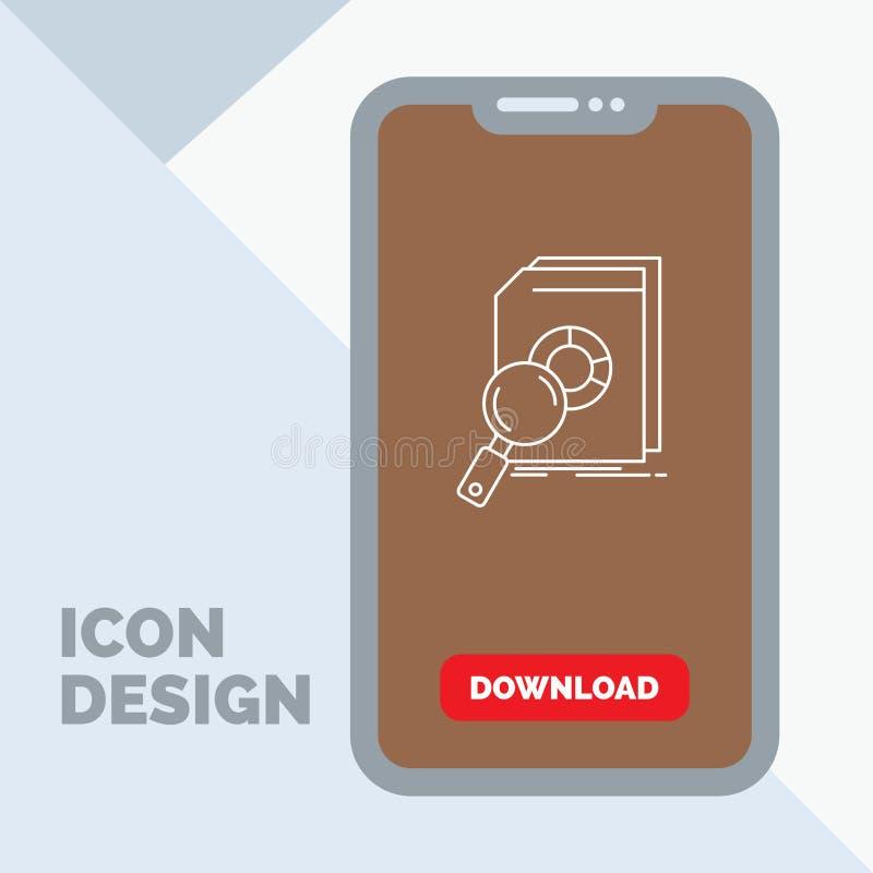 Analyse, données, financières, marché, ligne icône de recherches dans le mobile pour la page de téléchargement illustration de vecteur