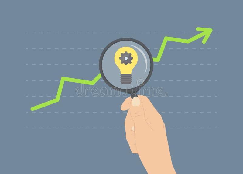 Analyse du concept plat d'illustration de croissance illustration de vecteur