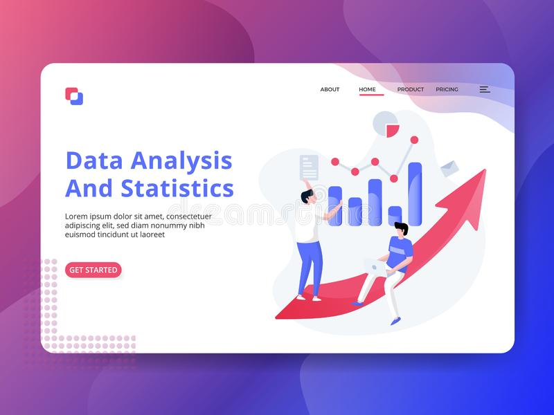 Analyse et statistiques de données de débarquement de page illustration libre de droits