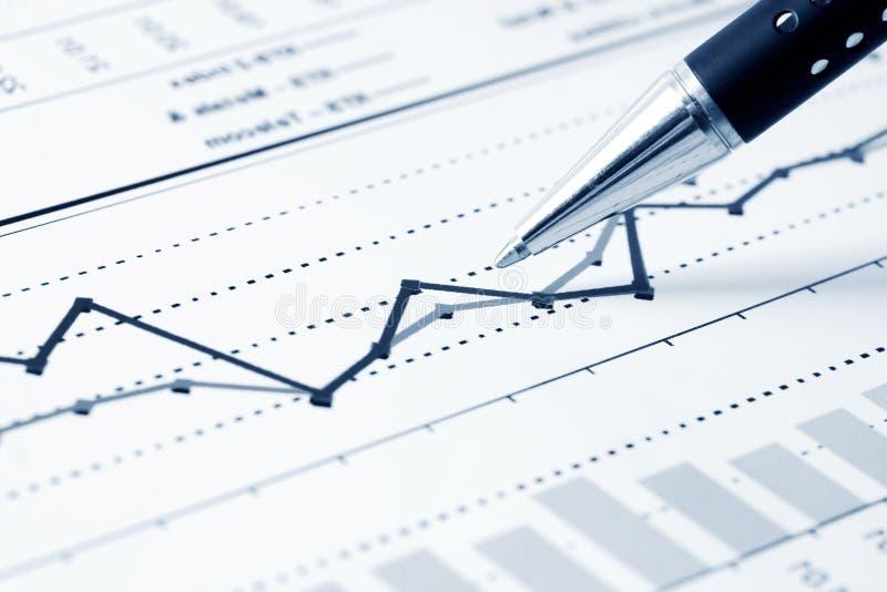 Analyse financière de graphiques image stock