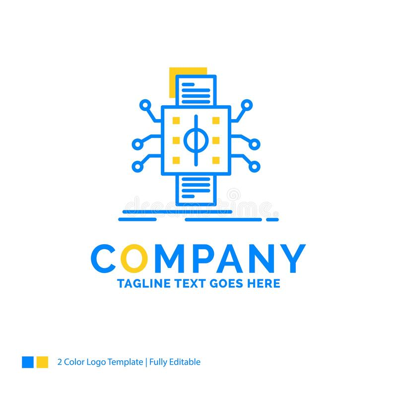 Analyse, gegevens die, gegeven, verwerking, Blauwe Gele Zaken melden royalty-vrije illustratie