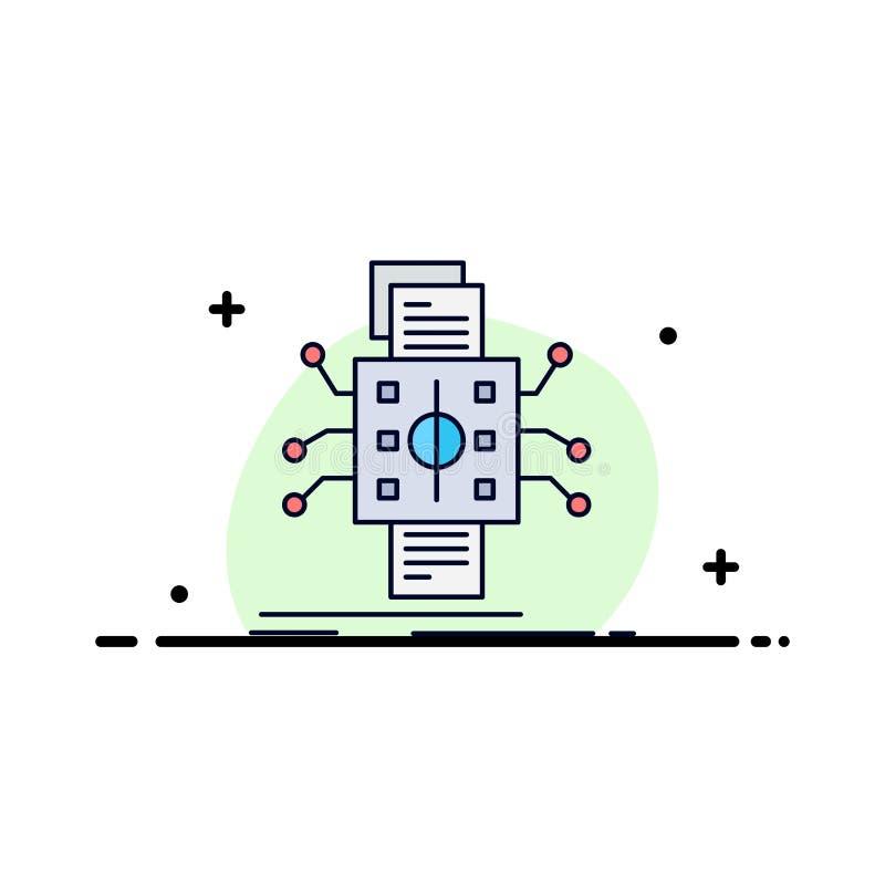 Analyse, gegevens die, gegeven, verwerking, de Vlakke Vector van het Kleurenpictogram melden royalty-vrije illustratie