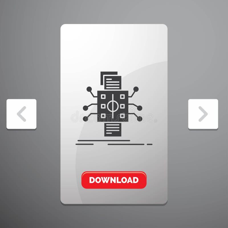 Analyse, gegevens die, gegeven, verwerking, Glyph-Pictogram in Carousal het Ontwerp van de Pagineringschuif & Rode Downloadknoop  vector illustratie