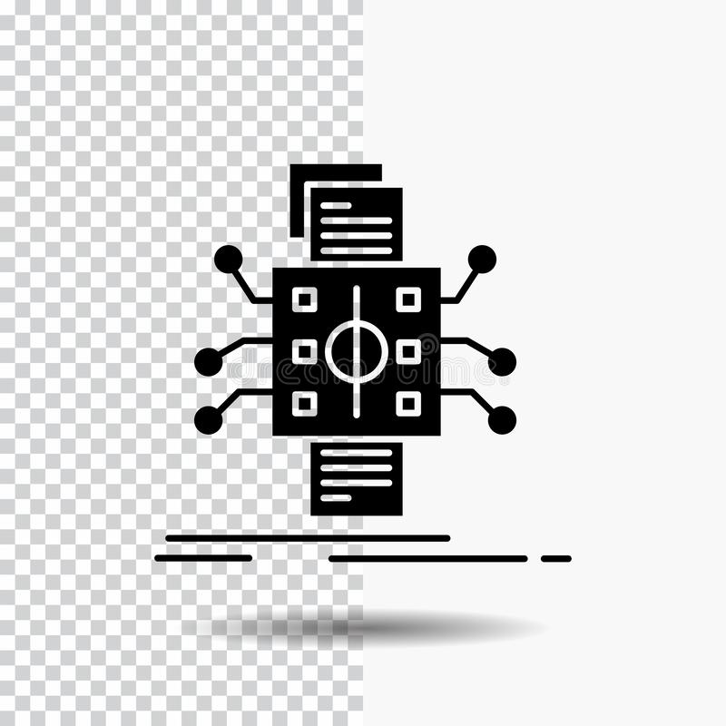 Analyse, gegevens die, gegeven, verwerking, Glyph-Pictogram melden over Transparante Achtergrond Zwart pictogram royalty-vrije illustratie
