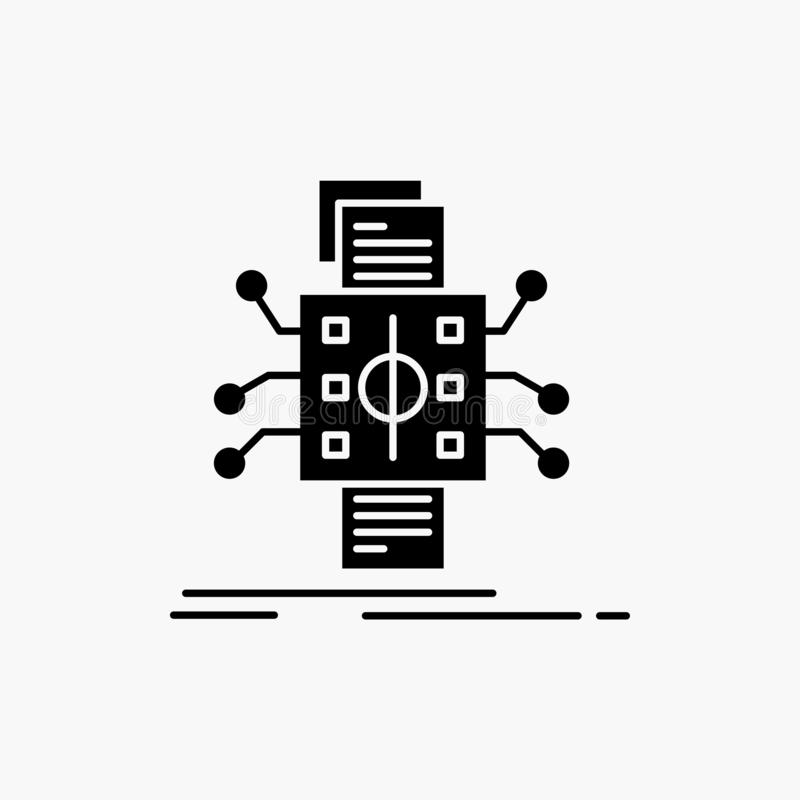 Analyse, gegevens die, gegeven, verwerking, Glyph-Pictogram melden Vector ge?soleerde illustratie royalty-vrije illustratie