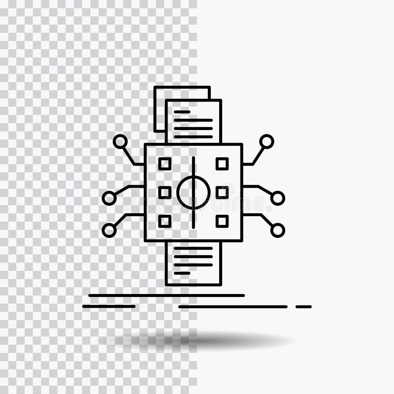 Analyse, gegevens die, gegeven, verwerking, Lijnpictogram melden over Transparante Achtergrond Zwarte pictogram vectorillustratie royalty-vrije illustratie