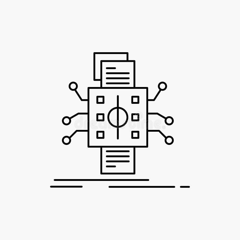 Analyse, gegevens die, gegeven, verwerking, Lijnpictogram melden Vector ge?soleerde illustratie royalty-vrije illustratie
