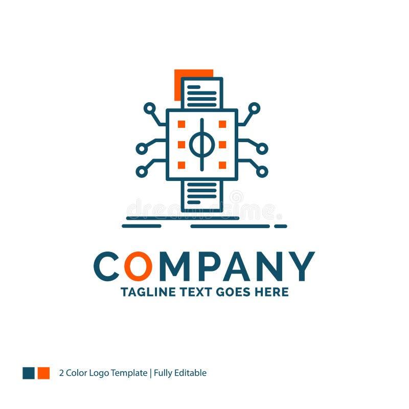 Analyse, gegevens die, gegeven, verwerking, Logo Design melden Blauwe a stock illustratie