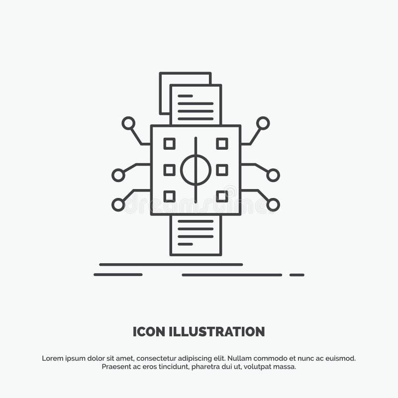Analyse, gegevens die, gegeven, verwerking, Pictogram melden Lijn vector grijs symbool voor UI en UX, website of mobiele toepassi vector illustratie