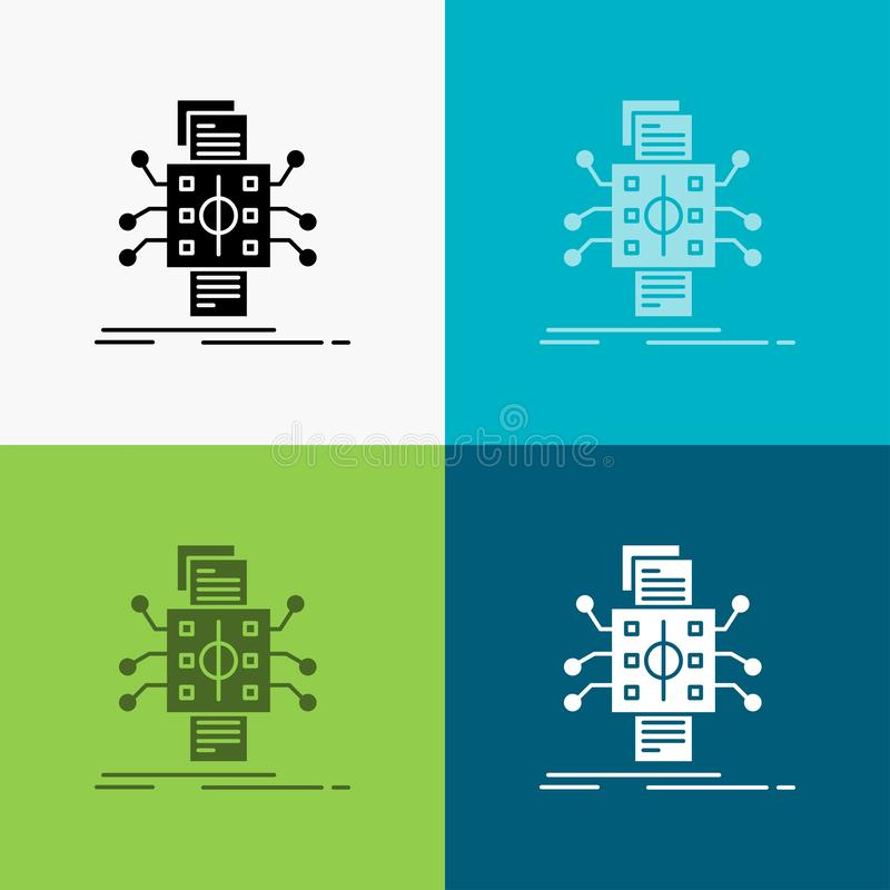 Analyse, gegevens die, gegeven, verwerking, Pictogram over Diverse Achtergrond melden glyph stijlontwerp, voor Web dat en app wor vector illustratie