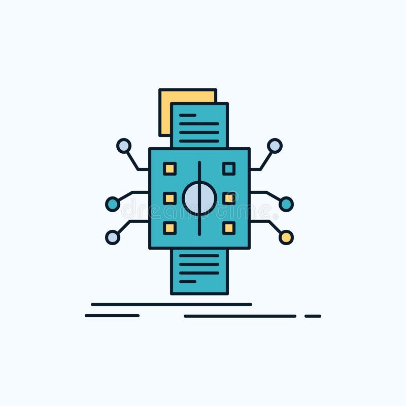 Analyse, gegevens die, gegeven, verwerking, Vlak Pictogram melden groene en Gele teken en symbolen voor website en Mobiele applia vector illustratie