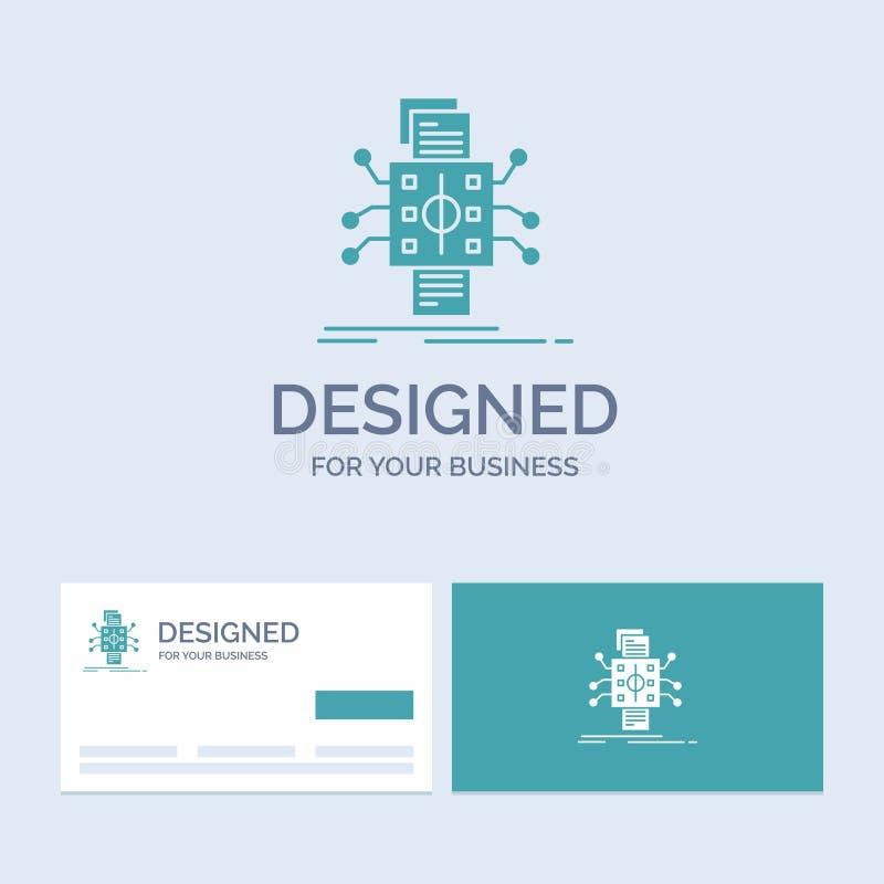 Analyse, gegevens die, gegeven, verwerking, Zaken Logo Glyph Icon Symbol voor uw zaken melden Turkooise Visitekaartjes met vector illustratie