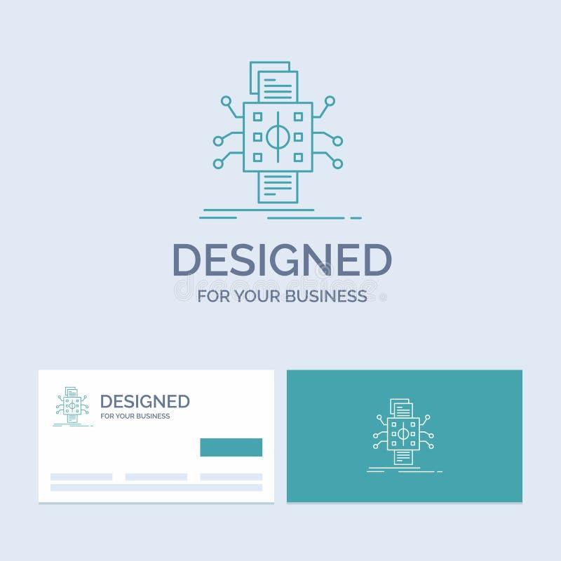 Analyse, gegevens die, gegeven, verwerking, Zaken Logo Line Icon Symbol voor uw zaken melden Turkooise Visitekaartjes met Merk royalty-vrije illustratie
