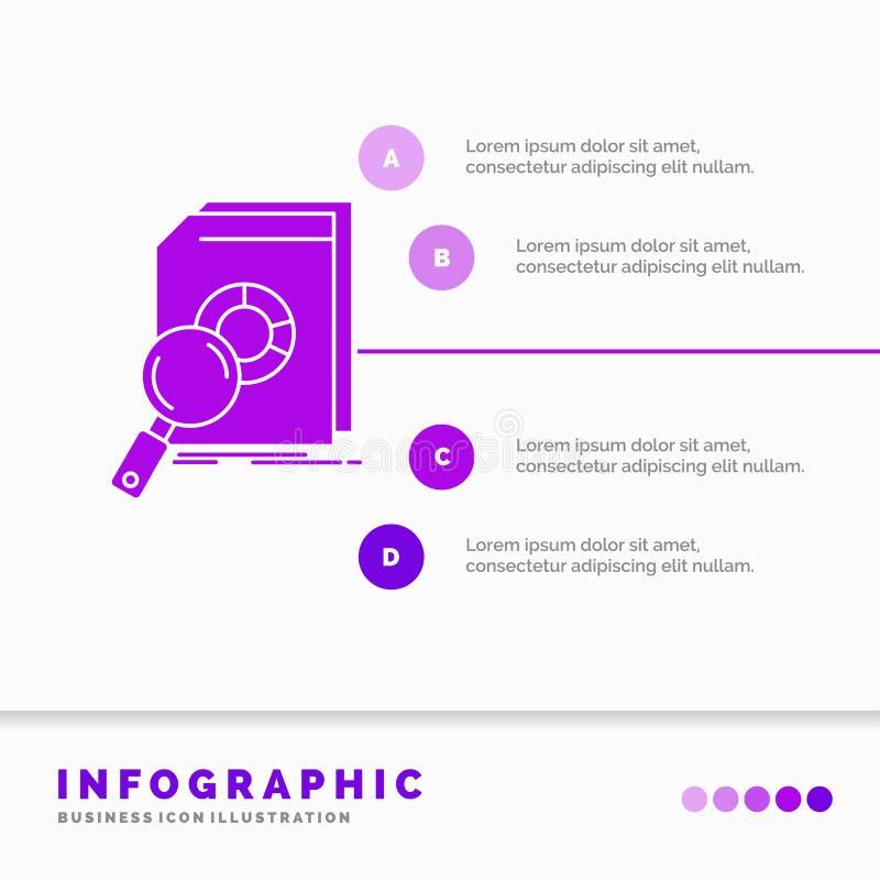 Analyse, gegevens, financieel, markt, het Malplaatje van onderzoekinfographics voor Website en Presentatie Infographic GLyph Purp vector illustratie