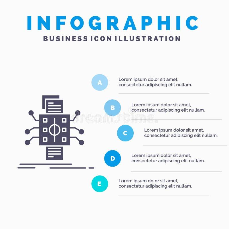 Analyse, gegevens, gegeven, verwerking, meldend Infographics-Malplaatje voor Website en Presentatie GLyph Grijs pictogram met Bla stock illustratie