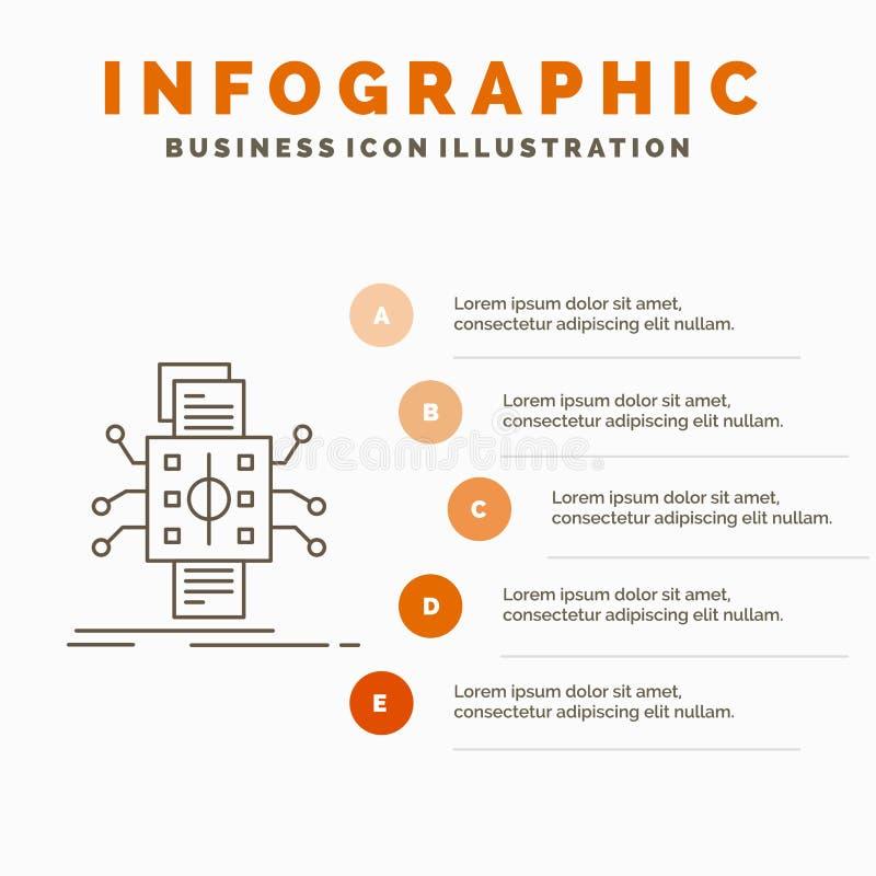 Analyse, gegevens, gegeven, verwerking, meldend Infographics-Malplaatje voor Website en Presentatie Lijn Grijs pictogram met Sina royalty-vrije illustratie