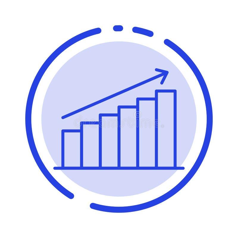 Analyse, Grafiek, Analytics, Zaken, Grafiek, Markt, de Lijnpictogram van de Statistieken Blauw Gestippelde Lijn vector illustratie