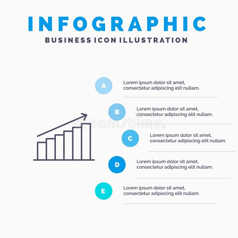 Analyse, Grafiek, Analytics, Zaken, Grafiek, Markt, het pictogram van de Statistiekenlijn met infographicsachtergrond van de 5 st royalty-vrije illustratie