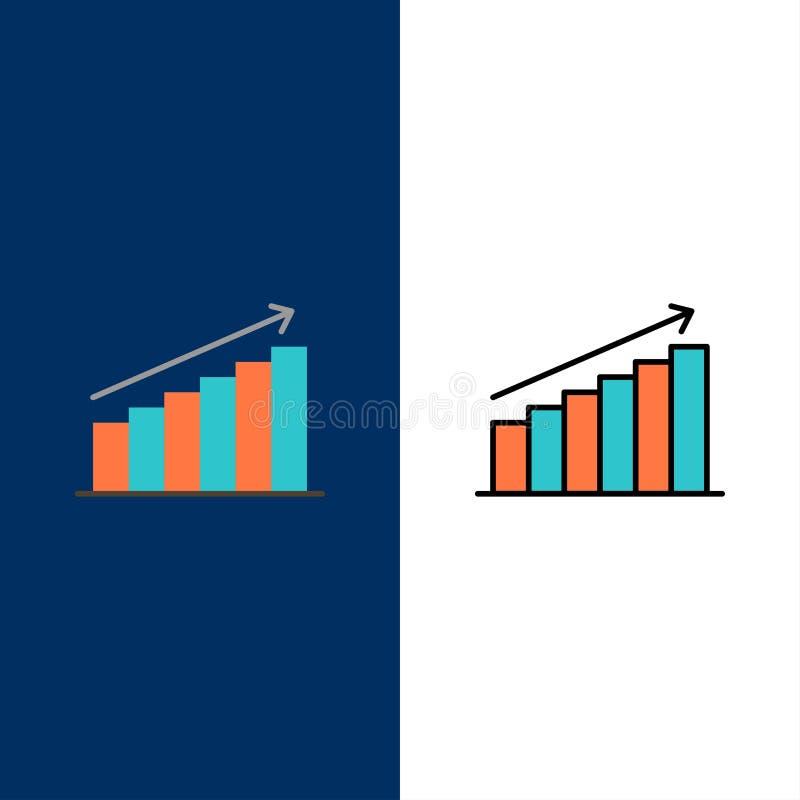 Analyse, Grafiek, Analytics, Zaken, Grafiek, Markt, Statistiekenpictogrammen Vlak en Lijn vulde Pictogram Vastgestelde Vector Bla stock illustratie