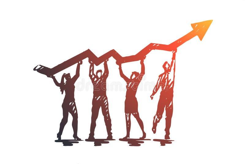 Analyse, graphique, ligne, recherche, concept de croissance Vecteur d'isolement tiré par la main illustration de vecteur